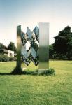 1975 Schakelobject 4  roestvrijstaal sculptuur met spiegels en plexiglas (aankoop gemeente Amstelveen)