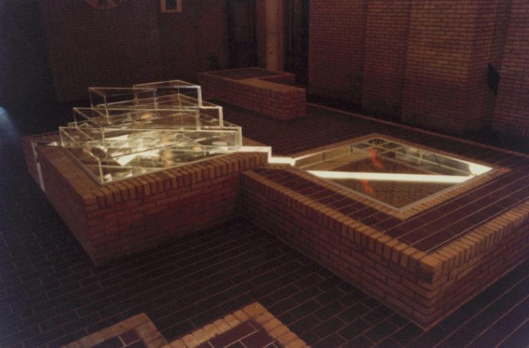 1980  Amsterdam Instituut voor Kernfysisch Onderzoek (NIKHEF) spiegelobject met laserlicht