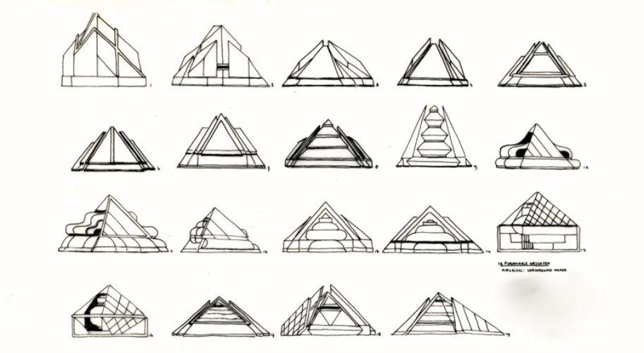 Schetstekeningen piramides